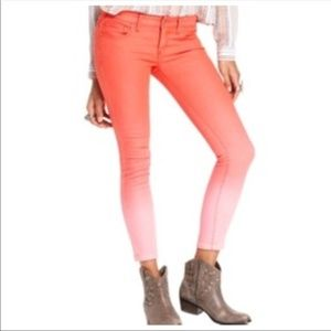 Free people red ombré jeans